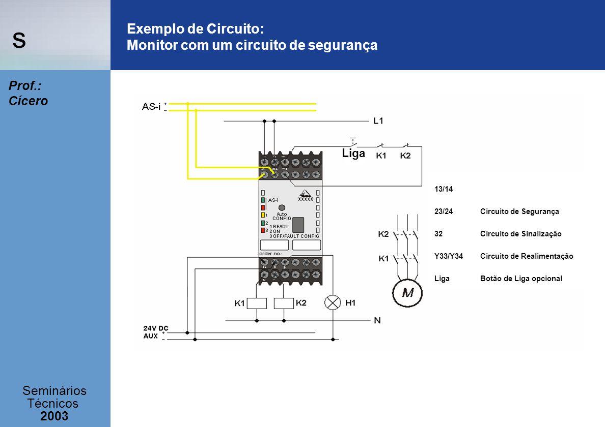 s Seminários Técnicos 2003 Prof.: Cícero Exemplo de Circuito: Monitor com um circuito de segurança Liga 13/14 23/24 Circuito de Segurança 32Circuito d
