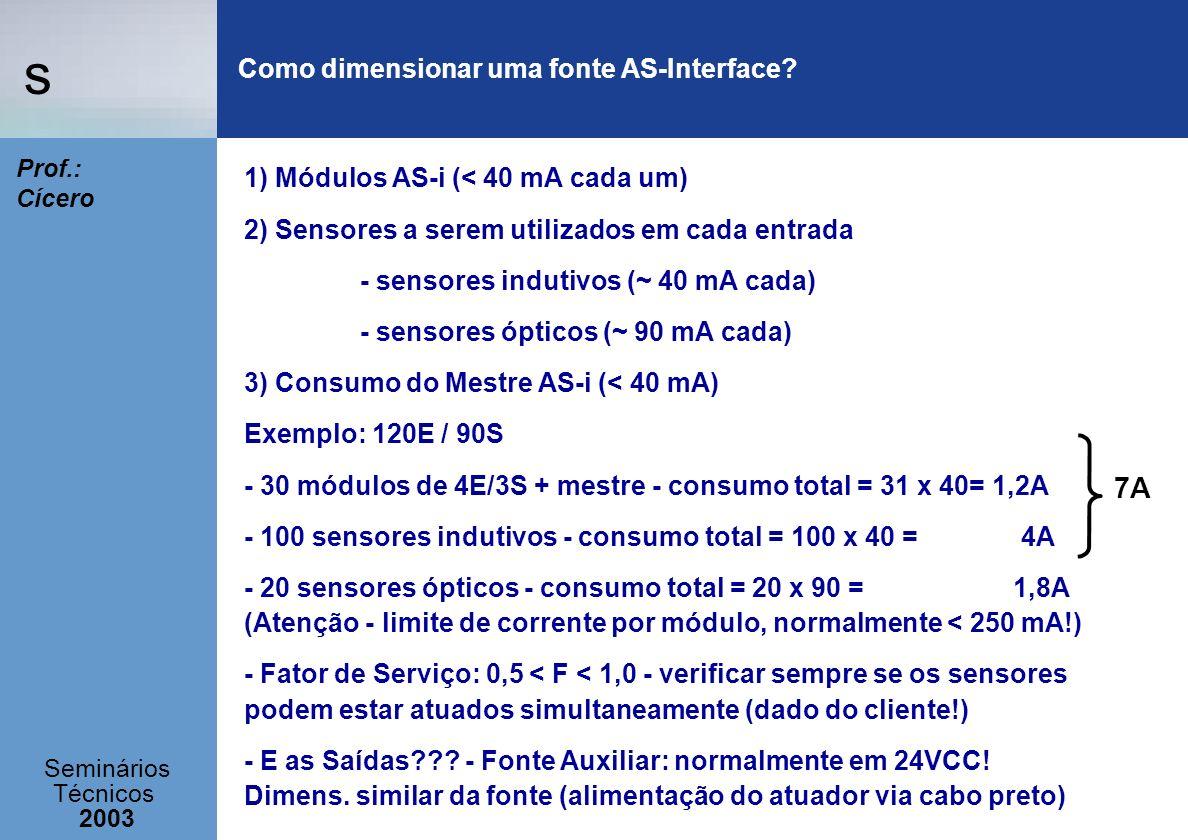 s Seminários Técnicos 2003 Prof.: Cícero Como dimensionar uma fonte AS-Interface? 1) Módulos AS-i (< 40 mA cada um) 2) Sensores a serem utilizados em