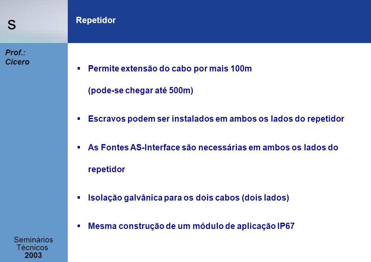 s Seminários Técnicos 2003 Prof.: Cícero Permite extensão do cabo por mais 100m (pode-se chegar até 500m) Escravos podem ser instalados em ambos os la