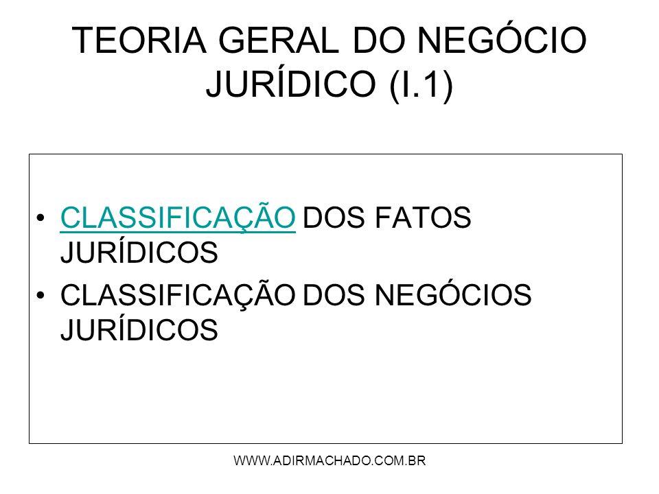 WWW.ADIRMACHADO.COM.BR TEORIA GERAL DO NEGÓCIO JURÍDICO (I.1) CLASSIFICAÇÃO DOS FATOS JURÍDICOSCLASSIFICAÇÃO CLASSIFICAÇÃO DOS NEGÓCIOS JURÍDICOS