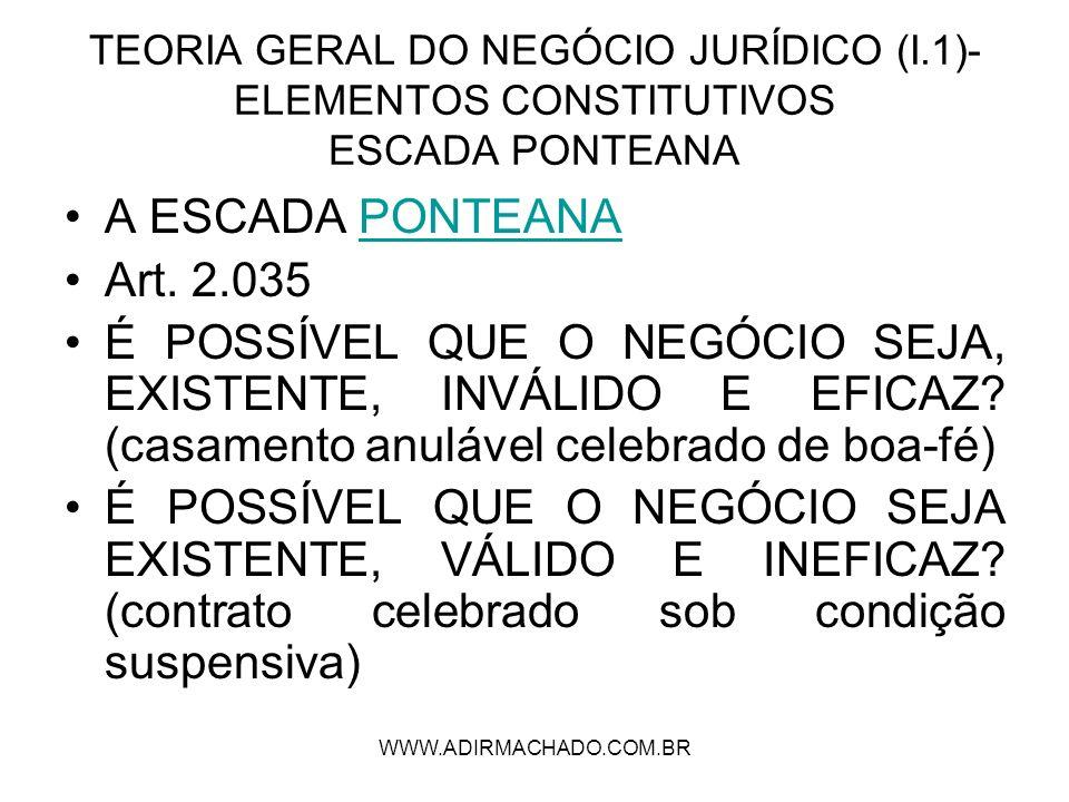 WWW.ADIRMACHADO.COM.BR TEORIA GERAL DO NEGÓCIO JURÍDICO (I.1)- ELEMENTOS CONSTITUTIVOS ESCADA PONTEANA A ESCADA PONTEANAPONTEANA Art. 2.035 É POSSÍVEL