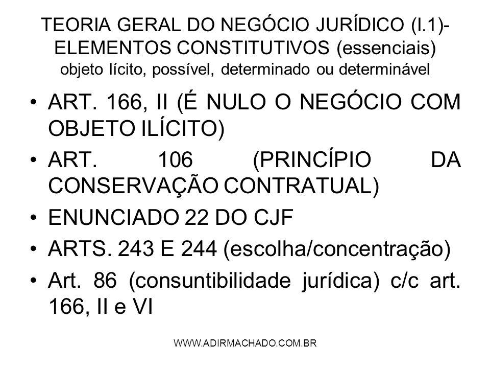 WWW.ADIRMACHADO.COM.BR TEORIA GERAL DO NEGÓCIO JURÍDICO (I.1)- ELEMENTOS CONSTITUTIVOS (essenciais) objeto lícito, possível, determinado ou determináv