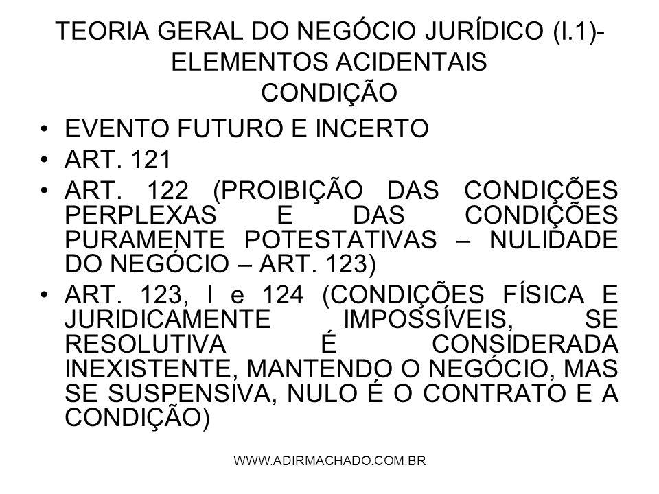 WWW.ADIRMACHADO.COM.BR TEORIA GERAL DO NEGÓCIO JURÍDICO (I.1)- ELEMENTOS ACIDENTAIS CONDIÇÃO EVENTO FUTURO E INCERTO ART. 121 ART. 122 (PROIBIÇÃO DAS