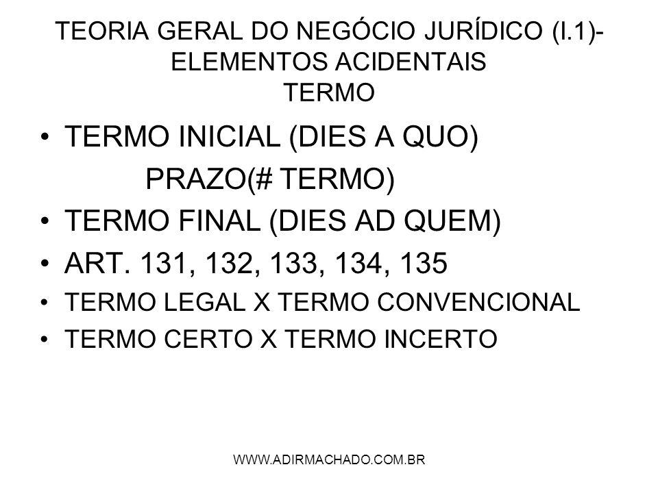 WWW.ADIRMACHADO.COM.BR TEORIA GERAL DO NEGÓCIO JURÍDICO (I.1)- ELEMENTOS ACIDENTAIS TERMO TERMO INICIAL (DIES A QUO) PRAZO(# TERMO) TERMO FINAL (DIES