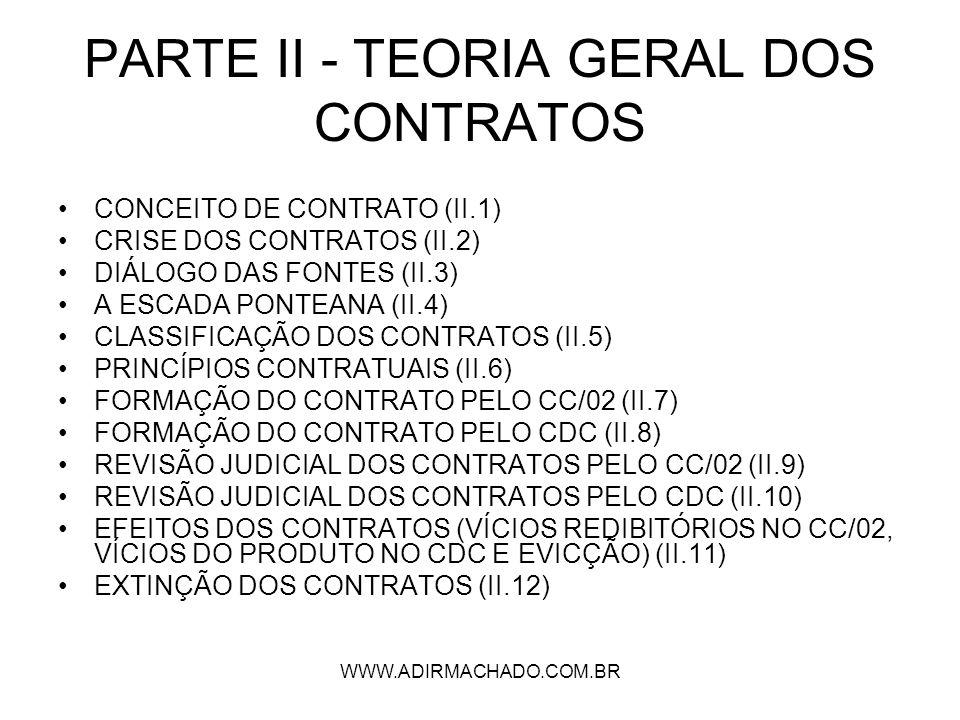 WWW.ADIRMACHADO.COM.BR PARTE II - TEORIA GERAL DOS CONTRATOS CONCEITO DE CONTRATO (II.1) CRISE DOS CONTRATOS (II.2) DIÁLOGO DAS FONTES (II.3) A ESCADA