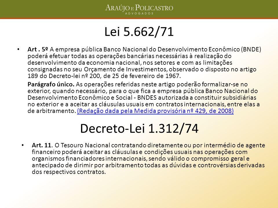Lei 5.662/71 Art. 5º A empresa pública Banco Nacional do Desenvolvimento Econômico (BNDE) poderá efetuar todas as operações bancárias necessárias à re