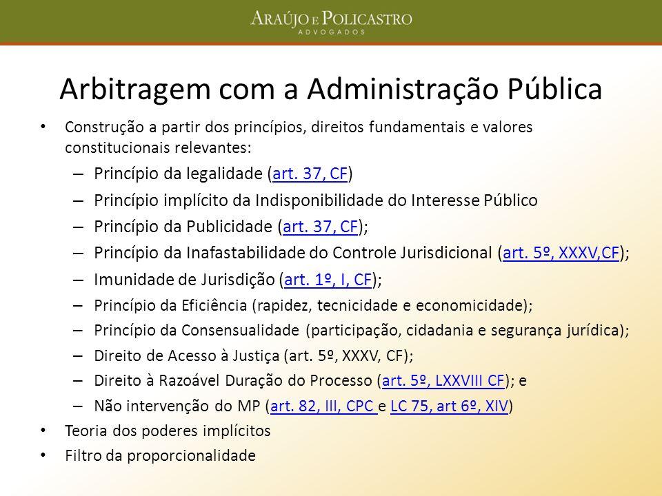 Arbitragem com a Administração Pública Construção a partir dos princípios, direitos fundamentais e valores constitucionais relevantes: – Princípio da
