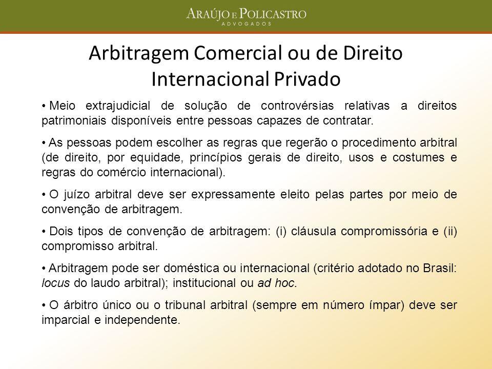 Arbitragem Comercial ou de Direito Internacional Privado Meio extrajudicial de solução de controvérsias relativas a direitos patrimoniais disponíveis