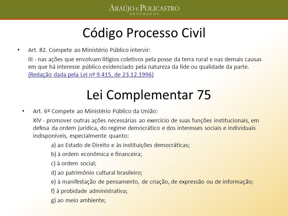 Código Processo Civil Art. 82. Compete ao Ministério Público intervir: III - nas ações que envolvam litígios coletivos pela posse da terra rural e nas