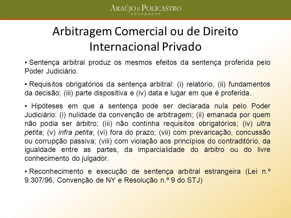 Arbitragem Comercial ou de Direito Internacional Privado Sentença arbitral produz os mesmos efeitos da sentença proferida pelo Poder Judiciário. Requi