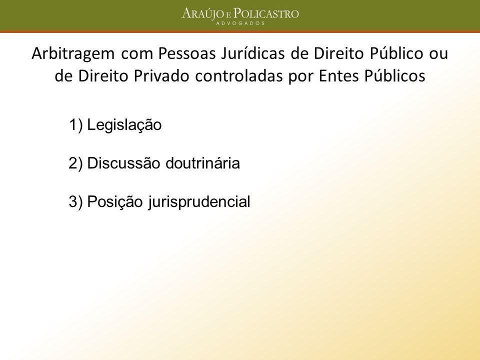Arbitragem com Pessoas Jurídicas de Direito Público ou de Direito Privado controladas por Entes Públicos 1) Legislação 2) Discussão doutrinária 3) Pos