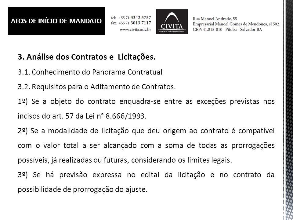 3.Análise dos Contratos e Licitações. 3.1. Conhecimento do Panorama Contratual 3.2.