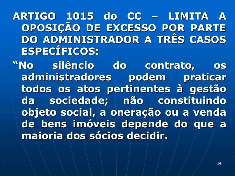 14 ARTIGO 1015 do CC – LIMITA A OPOSIÇÃO DE EXCESSO POR PARTE DO ADMINISTRADOR A TRÊS CASOS ESPECÍFICOS: No silêncio do contrato, os administradores p