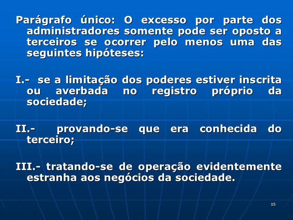 15 Parágrafo único: O excesso por parte dos administradores somente pode ser oposto a terceiros se ocorrer pelo menos uma das seguintes hipóteses: I.-