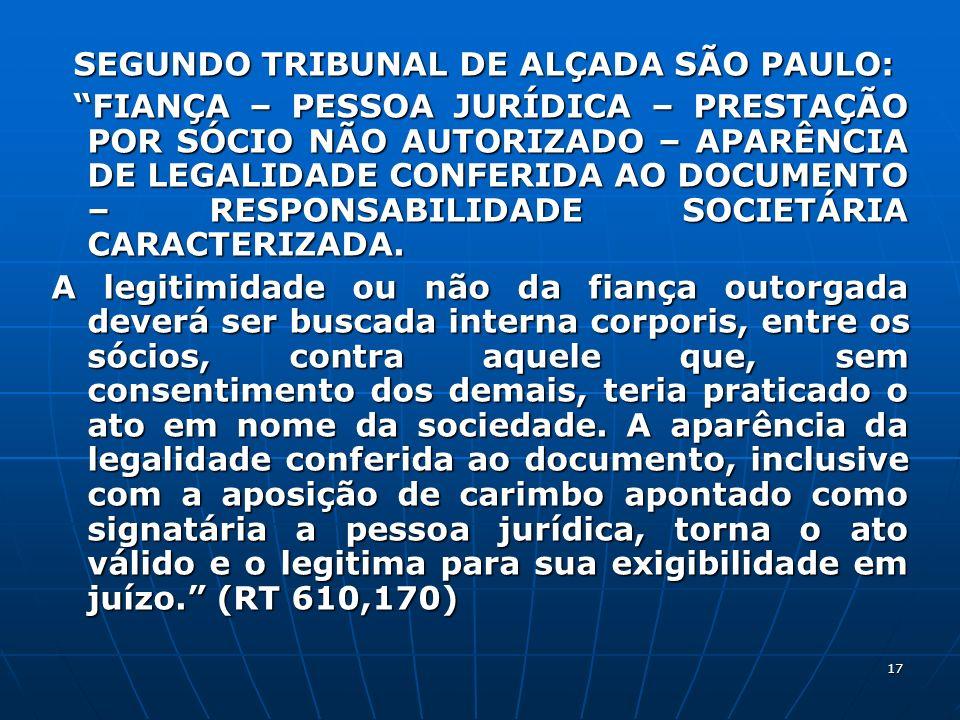 17 SEGUNDO TRIBUNAL DE ALÇADA SÃO PAULO: SEGUNDO TRIBUNAL DE ALÇADA SÃO PAULO: FIANÇA – PESSOA JURÍDICA – PRESTAÇÃO POR SÓCIO NÃO AUTORIZADO – APARÊNC
