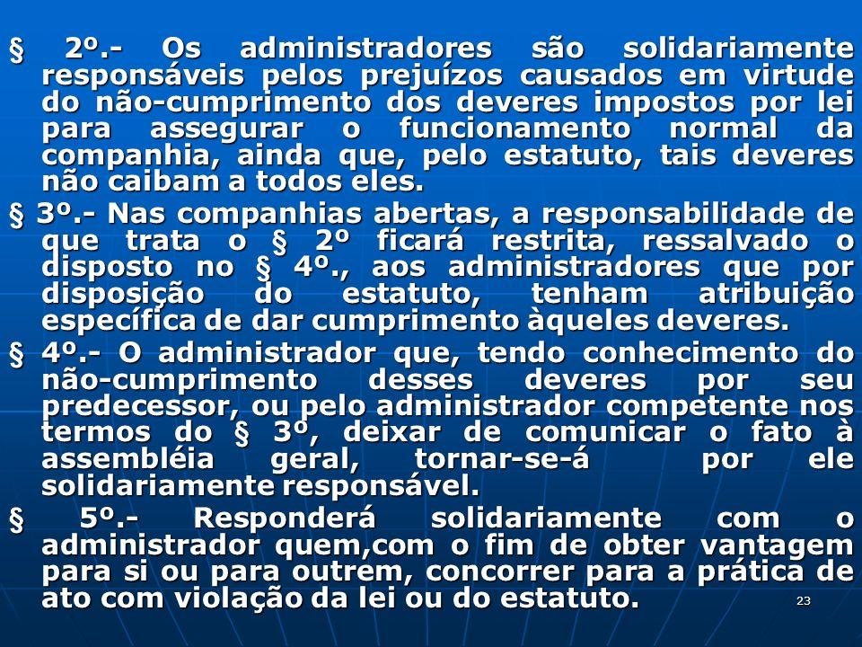 23 § 2º.- Os administradores são solidariamente responsáveis pelos prejuízos causados em virtude do não-cumprimento dos deveres impostos por lei para