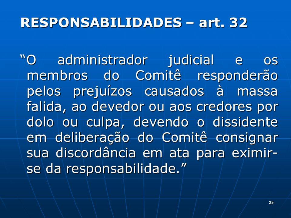 25 RESPONSABILIDADES – art. 32 RESPONSABILIDADES – art. 32 O administrador judicial e os membros do Comitê responderão pelos prejuízos causados à mass