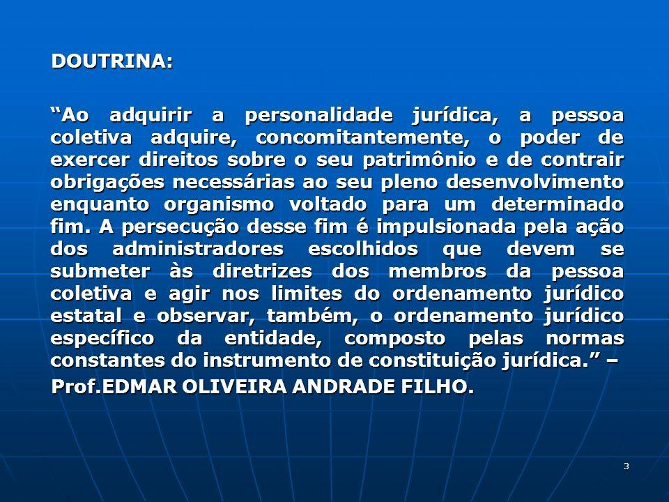 3 DOUTRINA: DOUTRINA: Ao adquirir a personalidade jurídica, a pessoa coletiva adquire, concomitantemente, o poder de exercer direitos sobre o seu patr