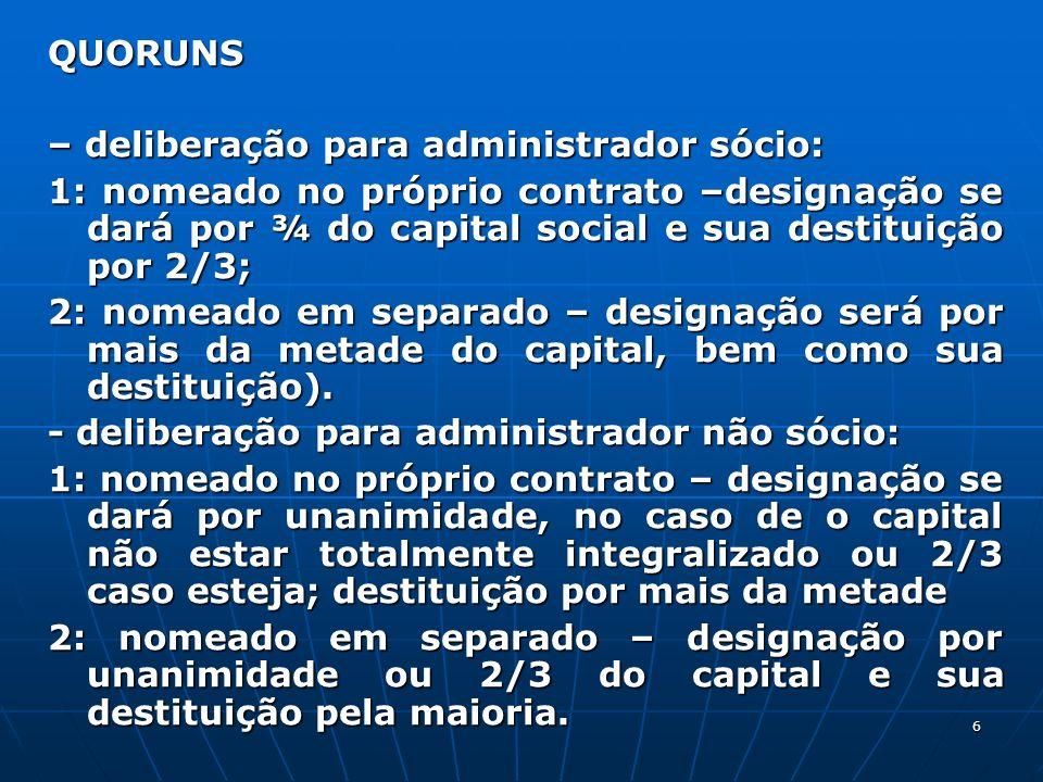 6 QUORUNS – deliberação para administrador sócio: 1: nomeado no próprio contrato –designação se dará por ¾ do capital social e sua destituição por 2/3