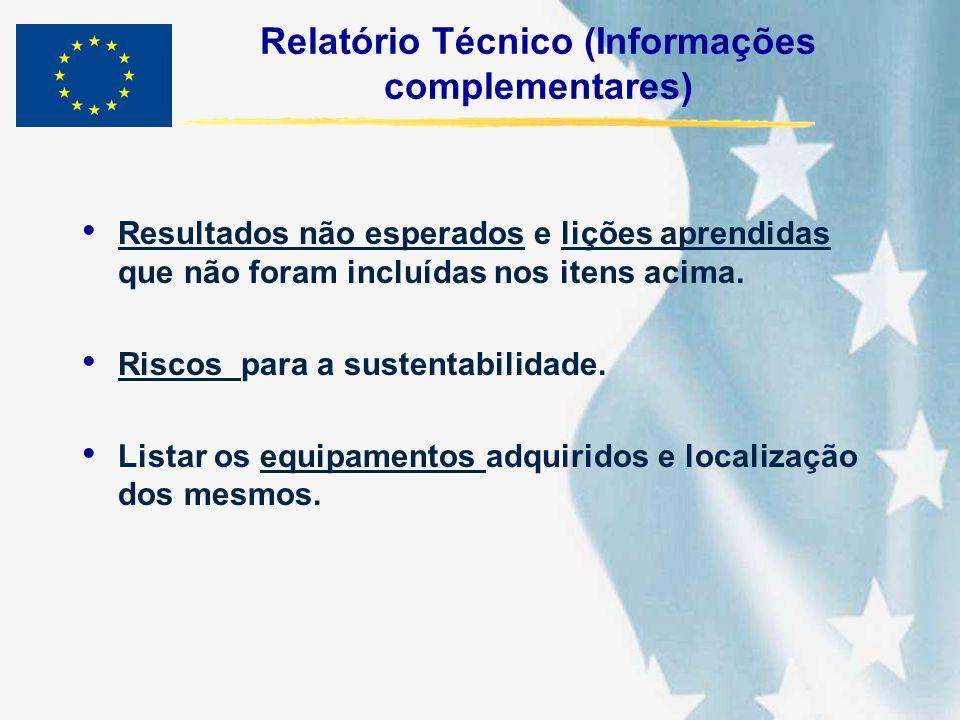 Relatório Técnico (Informações complementares) Resultados não esperados e lições aprendidas que não foram incluídas nos itens acima. Riscos para a sus
