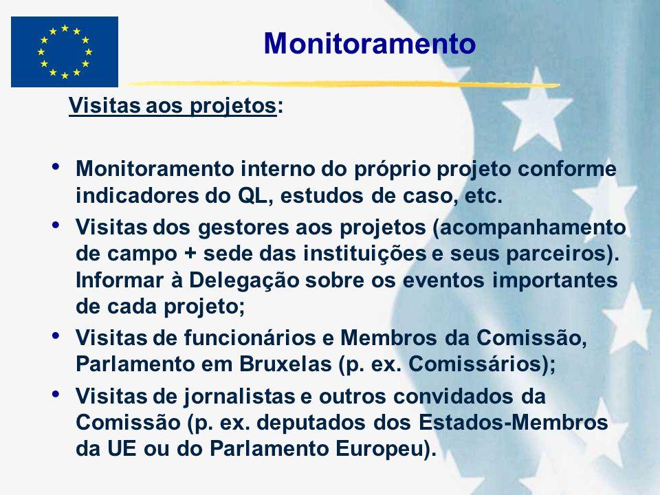 Monitoramento Visitas aos projetos: Monitoramento interno do próprio projeto conforme indicadores do QL, estudos de caso, etc. Visitas dos gestores ao