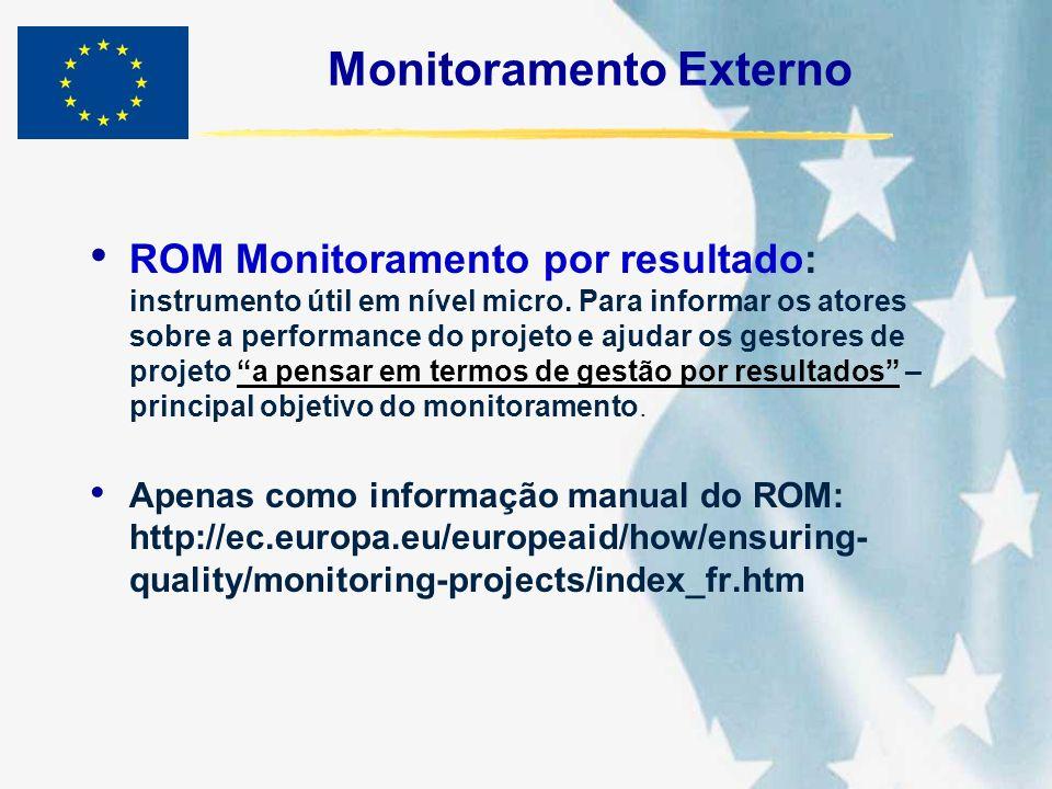 Monitoramento Externo ROM Monitoramento por resultado: instrumento útil em nível micro. Para informar os atores sobre a performance do projeto e ajuda