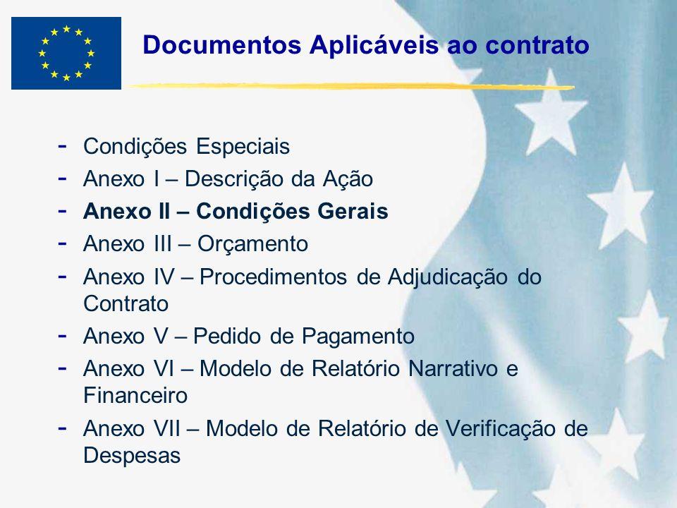 Documentos Aplicáveis ao contrato - Condições Especiais - Anexo I – Descrição da Ação - Anexo II – Condições Gerais - Anexo III – Orçamento - Anexo IV