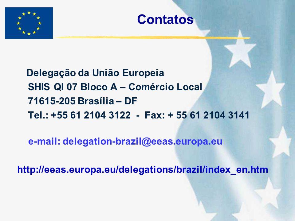 Contatos Delegação da União Europeia SHIS QI 07 Bloco A – Comércio Local 71615-205 Brasília – DF Tel.: +55 61 2104 3122 - Fax: + 55 61 2104 3141 e-mai