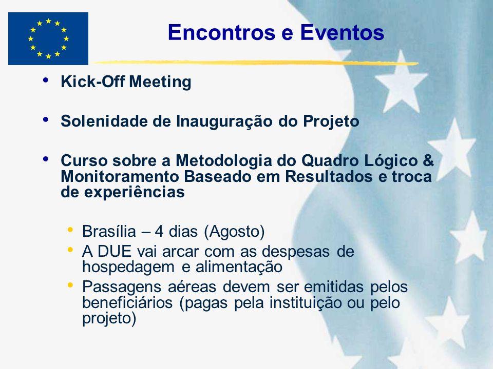 Encontros e Eventos Kick-Off Meeting Solenidade de Inauguração do Projeto Curso sobre a Metodologia do Quadro Lógico & Monitoramento Baseado em Result