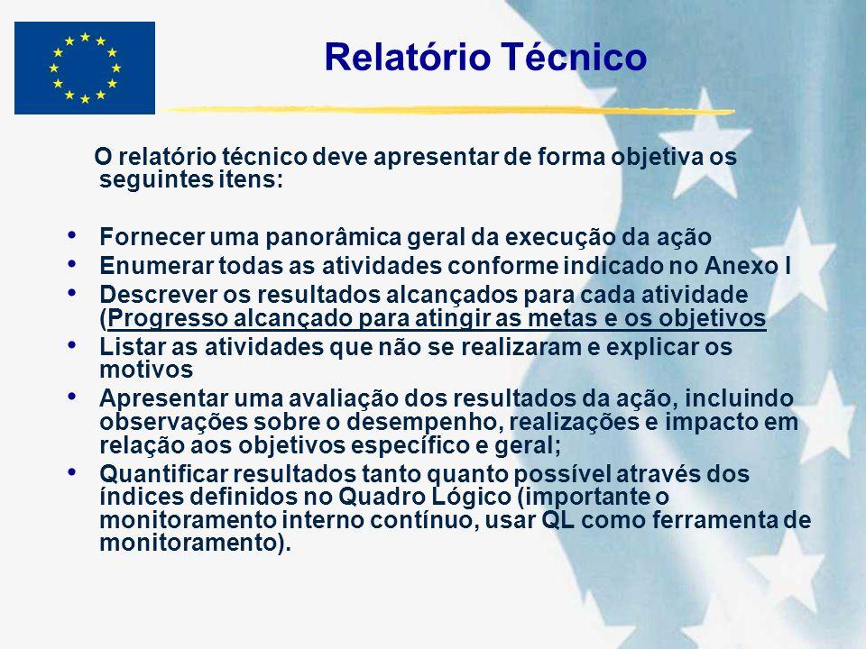 Relatório Técnico O relatório técnico deve apresentar de forma objetiva os seguintes itens: Fornecer uma panorâmica geral da execução da ação Enumerar