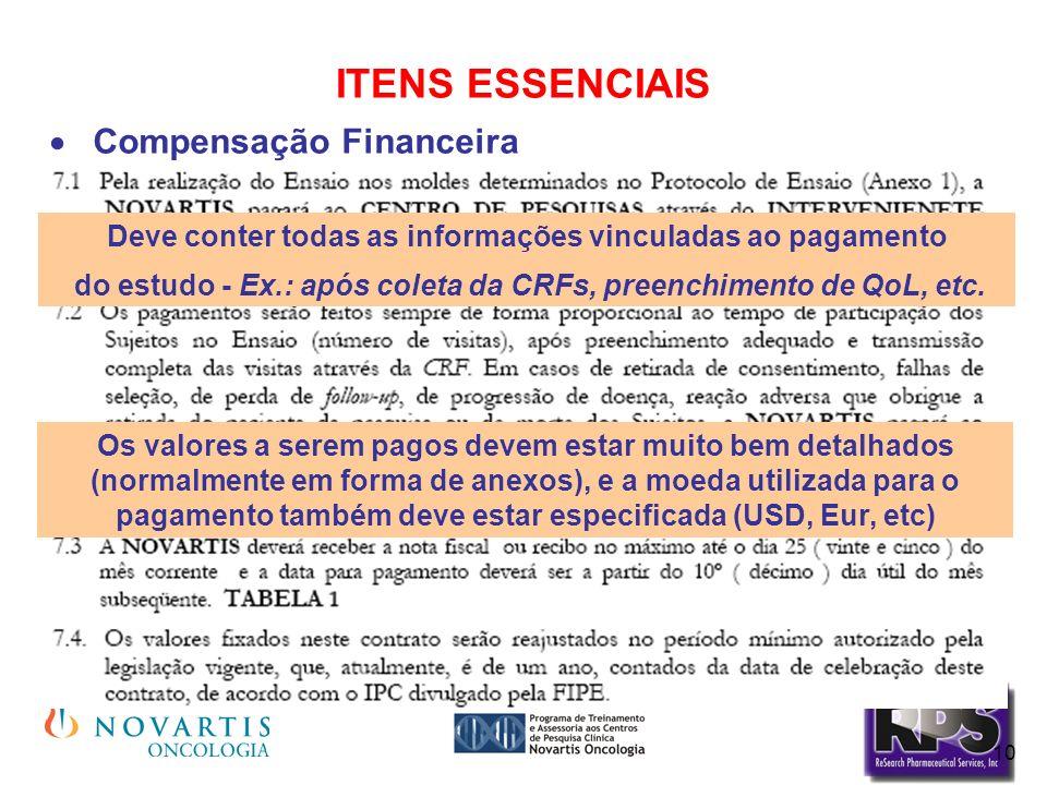 10 ITENS ESSENCIAIS Compensação Financeira Deve conter todas as informações vinculadas ao pagamento do estudo - Ex.: após coleta da CRFs, preenchiment