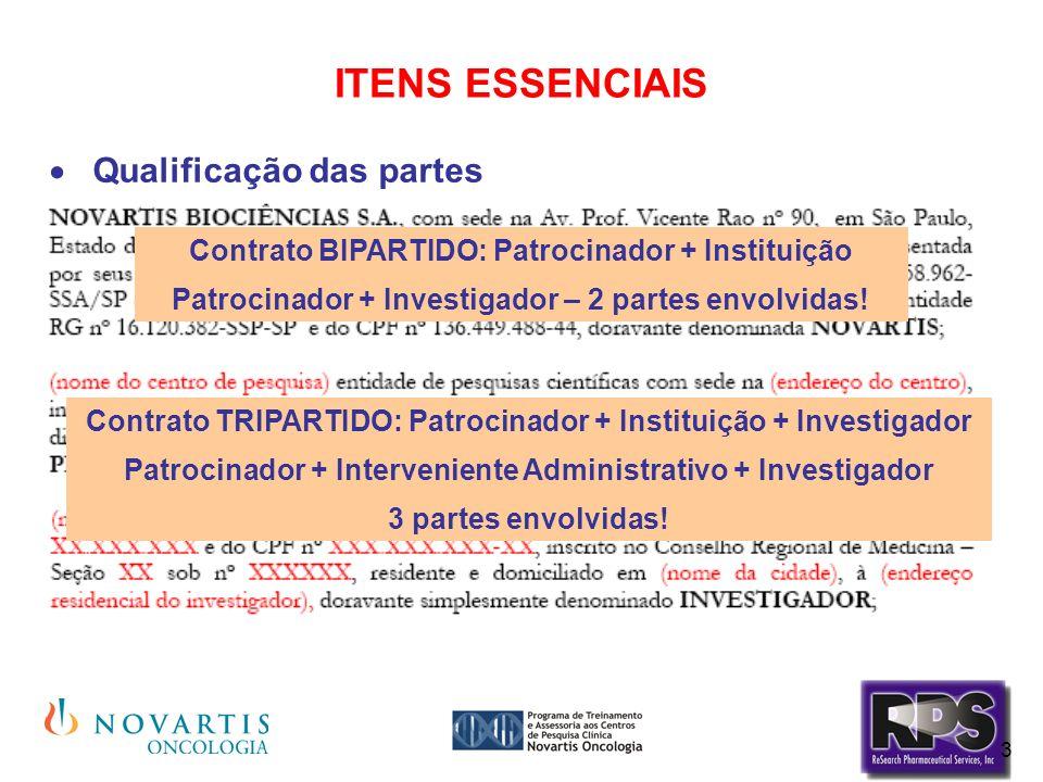 3 ITENS ESSENCIAIS Qualificação das partes Contrato BIPARTIDO: Patrocinador + Instituição Patrocinador + Investigador – 2 partes envolvidas! Contrato