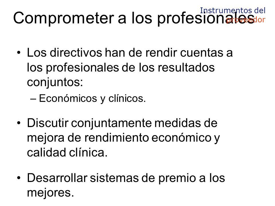Comprometer a los profesionales Los directivos han de rendir cuentas a los profesionales de los resultados conjuntos: –Económicos y clínicos.