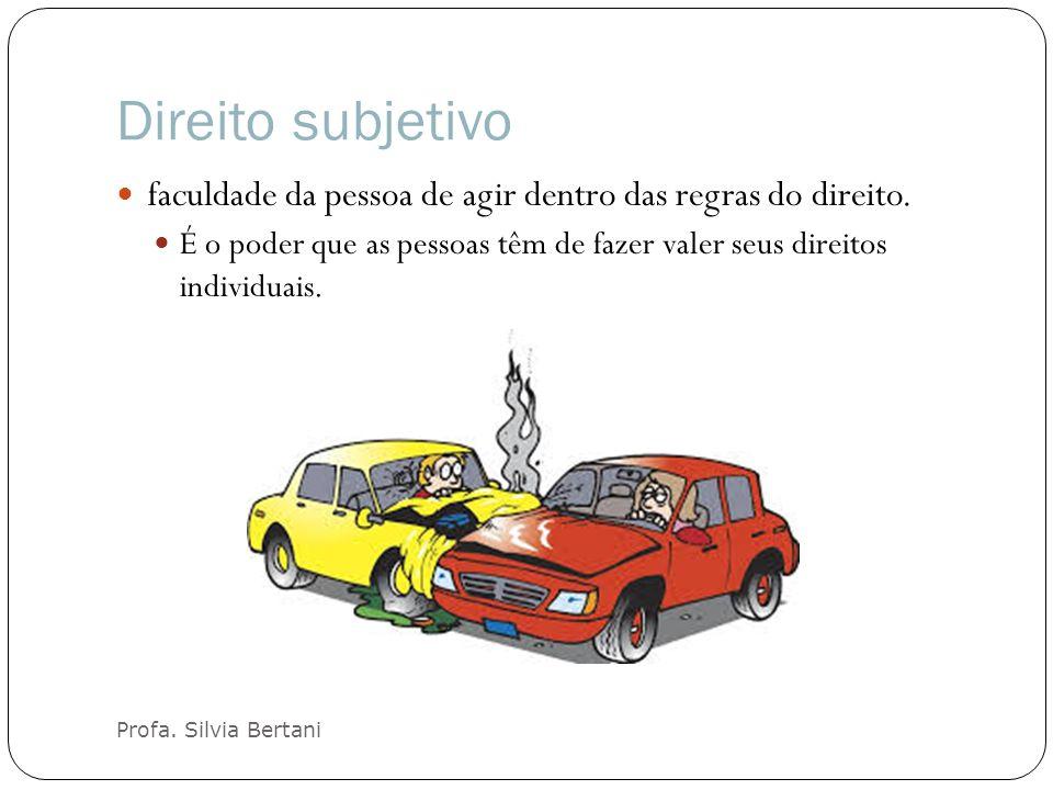 Direito subjetivo Profa.Silvia Bertani faculdade da pessoa de agir dentro das regras do direito.