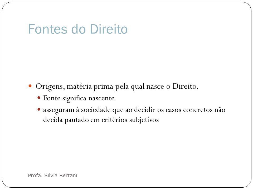 Fontes do Direito Profa. Silvia Bertani Origens, matéria prima pela qual nasce o Direito. Fonte significa nascente asseguram à sociedade que ao decidi