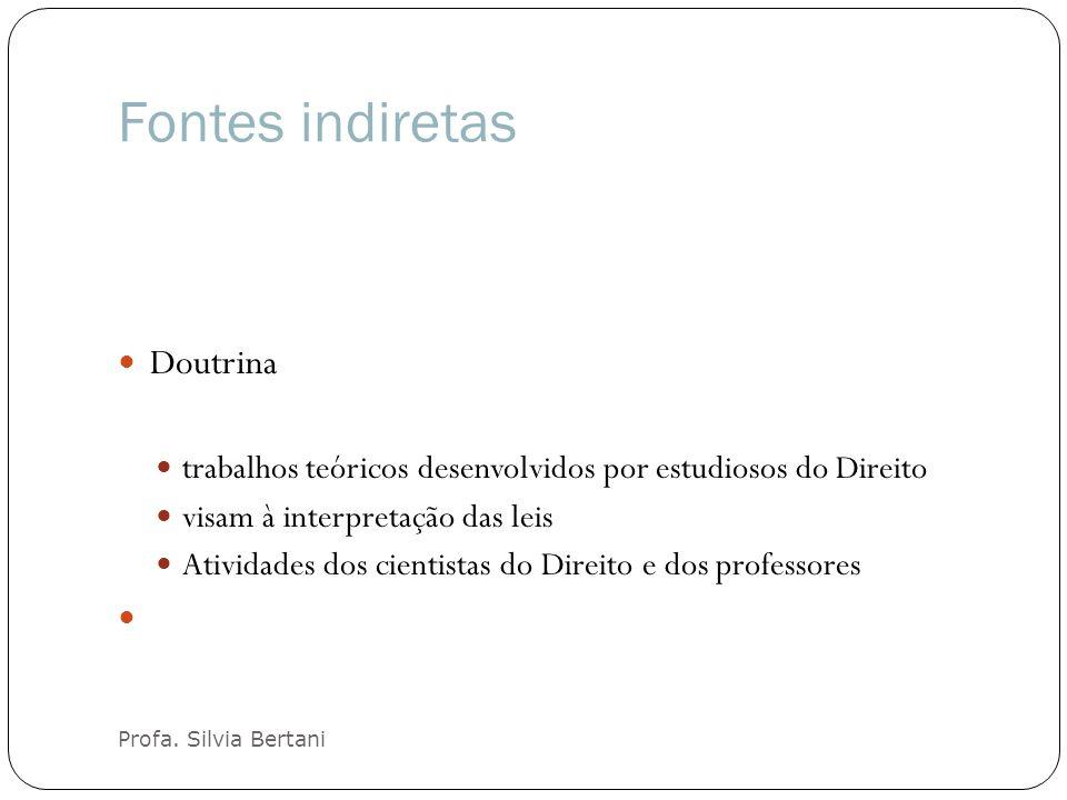 Fontes indiretas Profa. Silvia Bertani Doutrina trabalhos teóricos desenvolvidos por estudiosos do Direito visam à interpretação das leis Atividades d