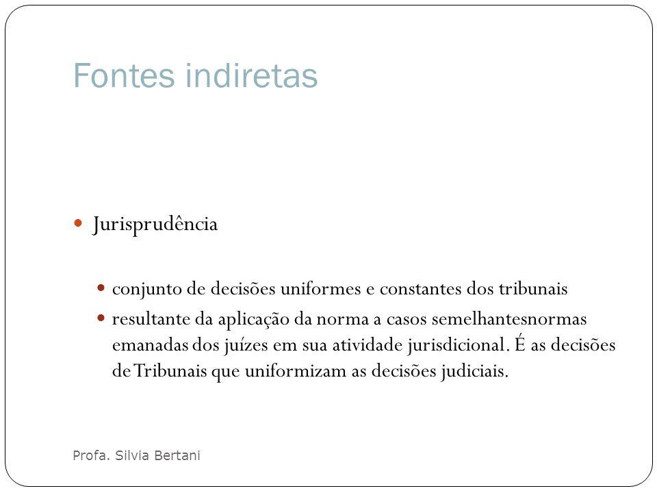 Fontes indiretas Profa. Silvia Bertani Jurisprudência conjunto de decisões uniformes e constantes dos tribunais resultante da aplicação da norma a cas