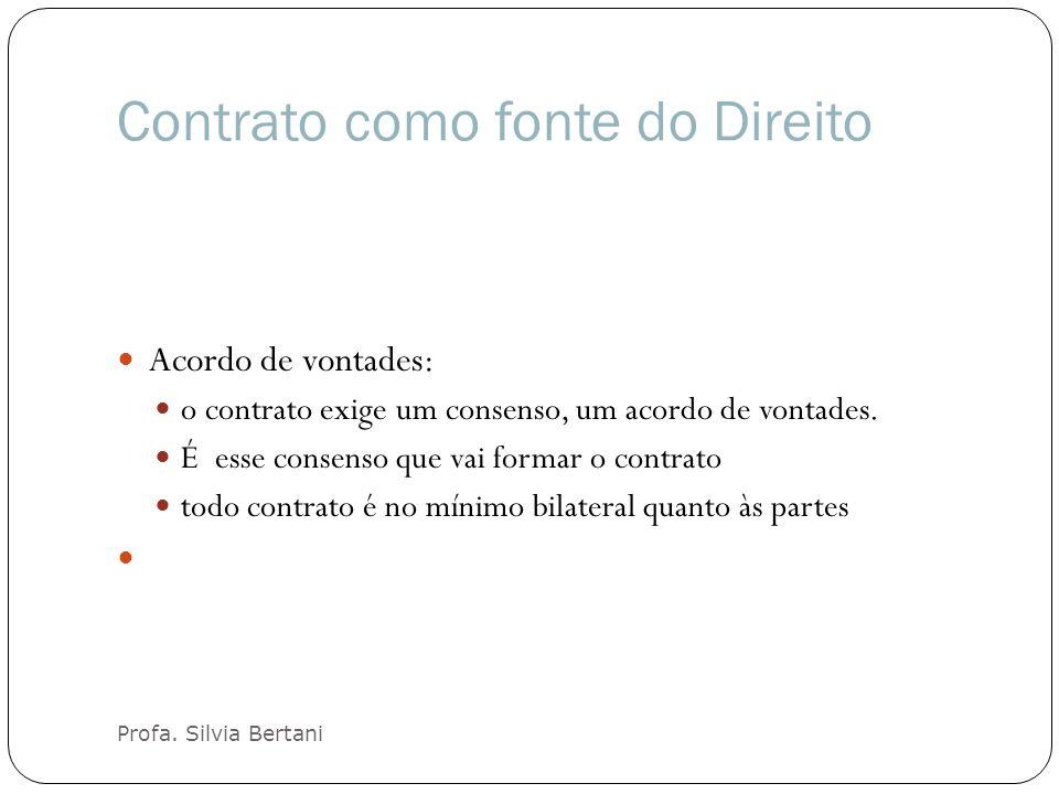 Contrato como fonte do Direito Profa. Silvia Bertani Acordo de vontades: o contrato exige um consenso, um acordo de vontades. É esse consenso que vai