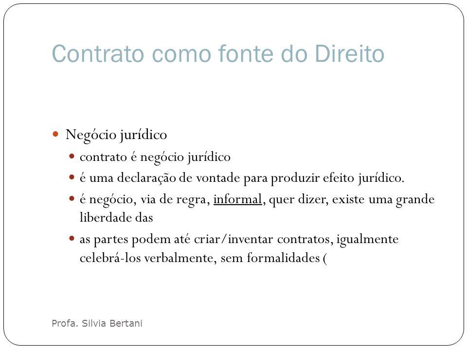 Contrato como fonte do Direito Profa. Silvia Bertani Negócio jurídico contrato é negócio jurídico é uma declaração de vontade para produzir efeito jur
