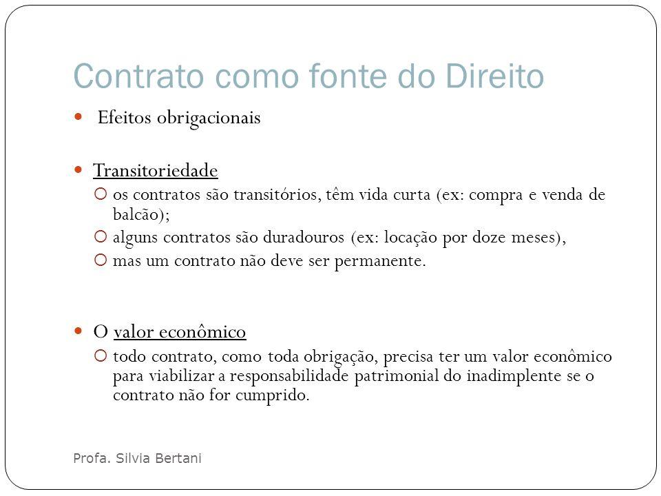 Contrato como fonte do Direito Profa. Silvia Bertani Efeitos obrigacionais Transitoriedade os contratos são transitórios, têm vida curta (ex: compra e
