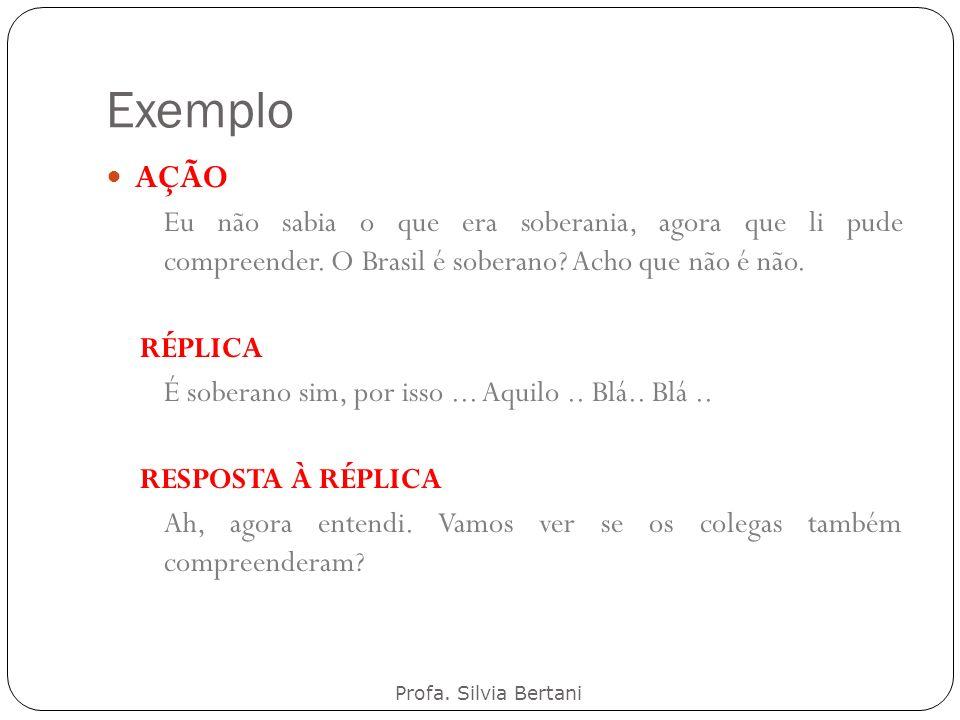 Exemplo Profa. Silvia Bertani AÇÃO Eu não sabia o que era soberania, agora que li pude compreender. O Brasil é soberano? Acho que não é não. RÉPLICA É