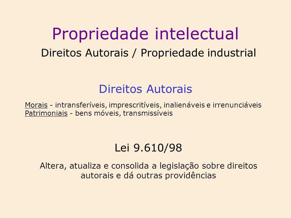 Propriedade intelectual Direitos Autorais / Propriedade industrial Direitos Autorais Lei 9.610/98 Altera, atualiza e consolida a legislação sobre dire