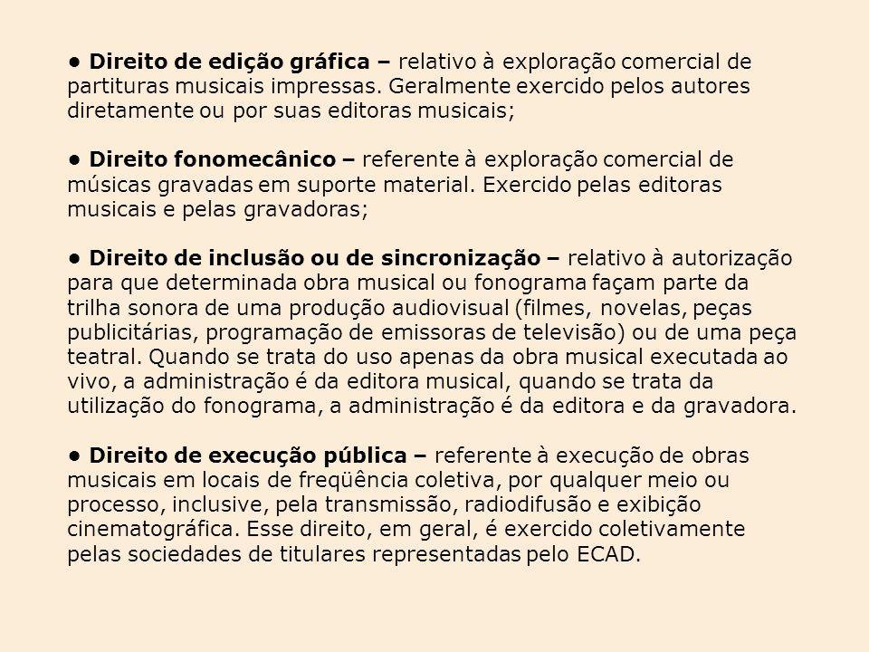 Direito de edição gráfica – relativo à exploração comercial de partituras musicais impressas. Geralmente exercido pelos autores diretamente ou por sua