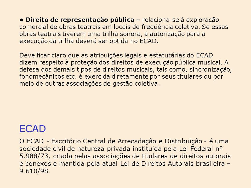 Direito de representação pública – relaciona-se à exploração comercial de obras teatrais em locais de freqüência coletiva. Se essas obras teatrais tiv