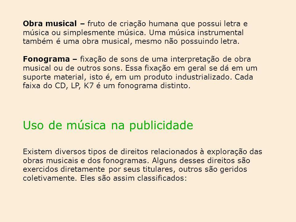 Uso de música na publicidade Existem diversos tipos de direitos relacionados à exploração das obras musicais e dos fonogramas. Alguns desses direitos