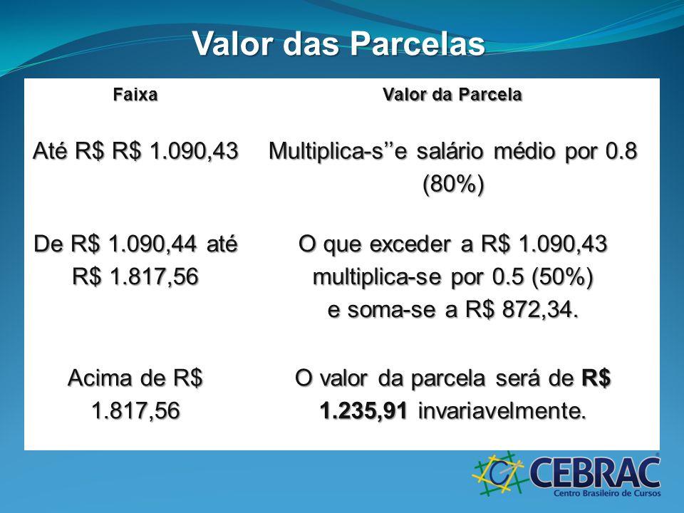 Valor das Parcelas Faixa Valor da Parcela Até R$ R$ 1.090,43 Multiplica-se salário médio por 0.8 (80%) De R$ 1.090,44 até R$ 1.817,56 O que exceder a