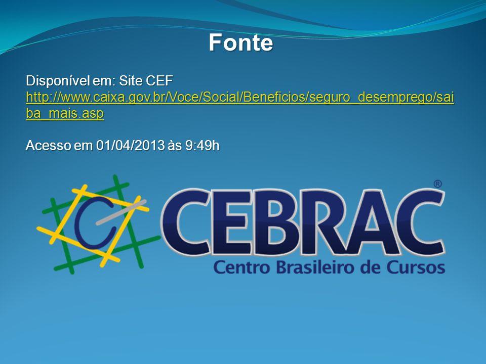 Fonte Disponível em: Site CEF http://www.caixa.gov.br/Voce/Social/Beneficios/seguro_desemprego/sai ba_mais.asphttp://www.caixa.gov.br/Voce/Social/Bene