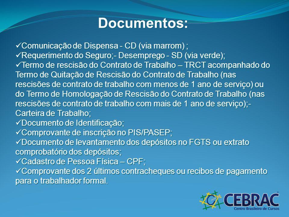 Documentos: Comunicação de Dispensa - CD (via marrom) ; Comunicação de Dispensa - CD (via marrom) ; Requerimento do Seguro;- Desemprego - SD (via verd