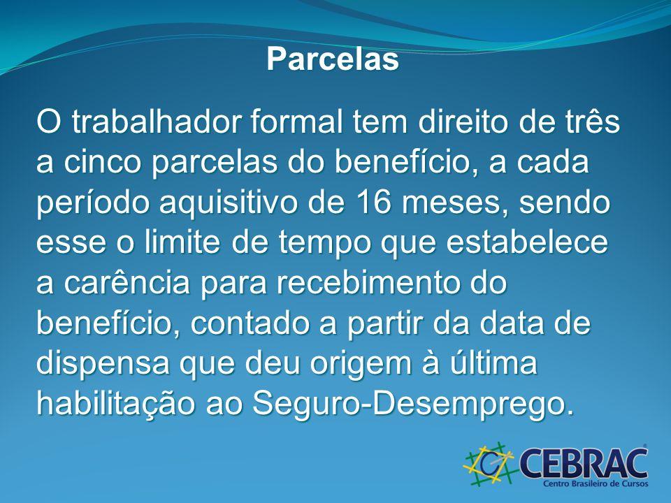 Parcelas O trabalhador formal tem direito de três a cinco parcelas do benefício, a cada período aquisitivo de 16 meses, sendo esse o limite de tempo q