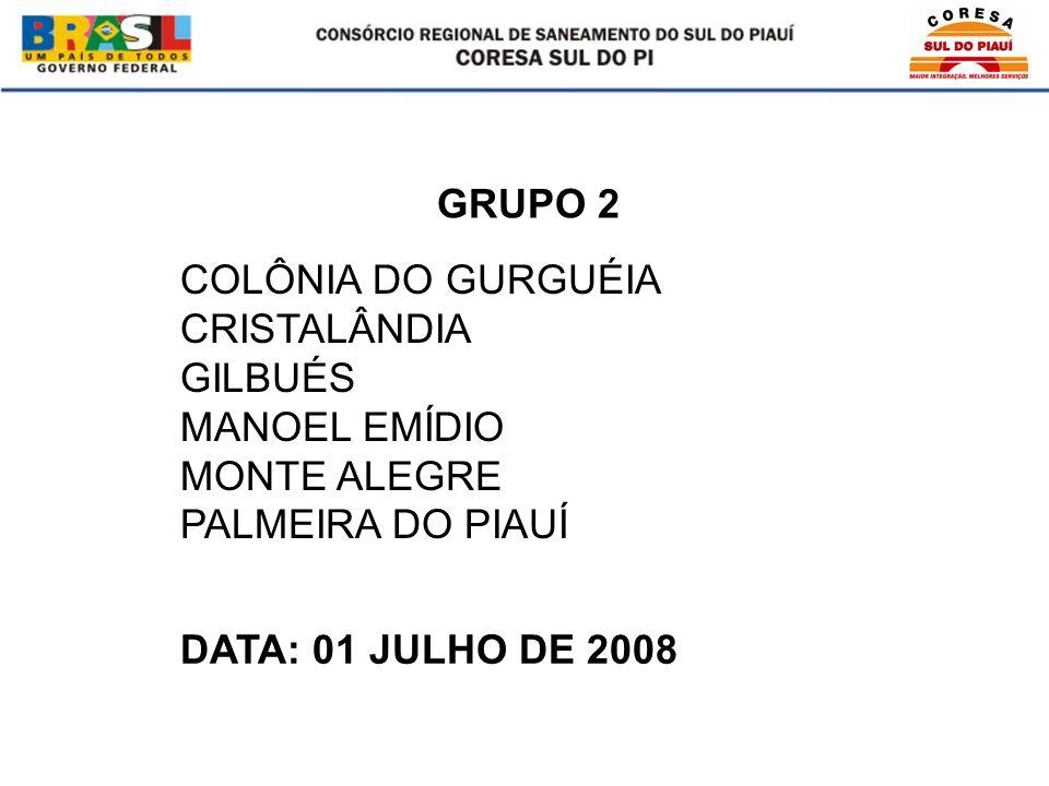COLÔNIA DO GURGUÉIA CRISTALÂNDIA GILBUÉS MANOEL EMÍDIO MONTE ALEGRE PALMEIRA DO PIAUÍ GRUPO 2 DATA: 01 JULHO DE 2008